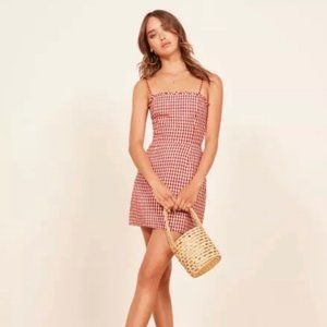 Reformation Red and White Gingham Mini Dress